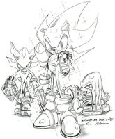 super sonic,knuckles,shadow by trunks24