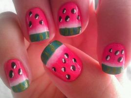 Watermelon Nail Art by wolfgirl4716
