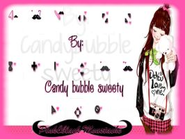 Cursores black 'n pink moustache by candybubblesweety