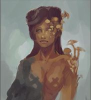 Mushrooms Girl (wip) by bloodrizer