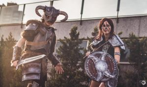 Dragonborn and Aela the Huntress by Fin-Cosplay