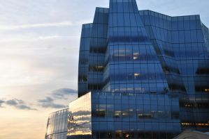 Sunset and Glass Building by WhyteMyst