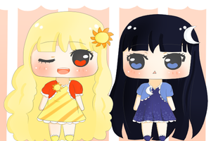New Chi adoptables: Sun and Moon (CLOSED) by MoeKimiko