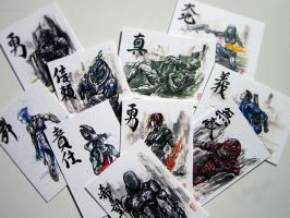 Artist Trading Card set ME Sumie Series :) by MyCKs