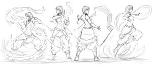 korra bending all four elements by Sketchydeez