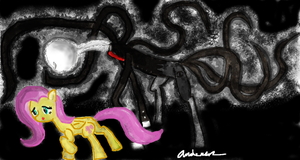 The Slender Pony and Fluttershy by zxcvsaw