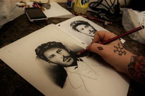 Doodling the young Stalin by Nevermore-Ink