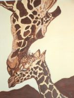 Painting of a giraffe by Yvonne63