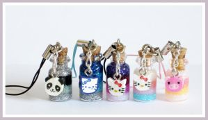Cute Animal Face Bottle Charms by softbluecries