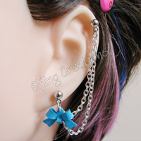 Blue Bow Connecting Chain Earring by merigreenleaf