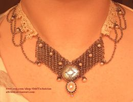Pearl, Maille, and Lace Necklace (ph.shoot 2) by ulfchild