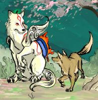 Amaterasu's New Friend by Clairictures