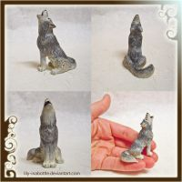 Tiny Howling Wolf Sculpture by lily-inabottle