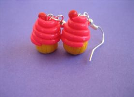 Neon Cupcake Earrings by ClayMyDay