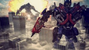 Optimus Prime vs Megatron by phamloc14