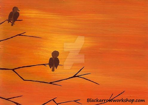 Birds on Tree at sunset ACEO by Black-Arrow-Workshop