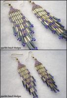 Mini Purple and Silver Earring by Natalie526