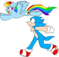 .:Crossover:. Rainbow Dash VS Sonic by Sparkle-the-cat-13