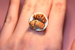 Realistic Polymer Clay Chocolate Croissants Ring! by ClayConfectionary