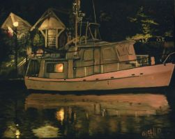 docked on the canal my painting by cliford417