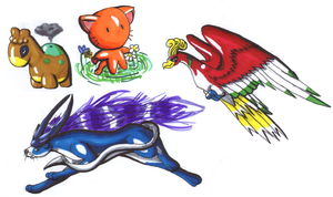 Ho-oh,Suicune,Numel,Kitty by Ho-ohLover