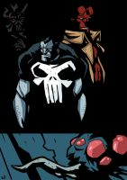 Hellboy and Punisher by rizaturker