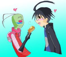 Zim feeds Dib waffles by Sinthefreak