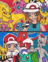 BLUE vs RED Pokemon cosplay by rumiko18