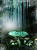 Blue Mushroom forest by JulieLangford