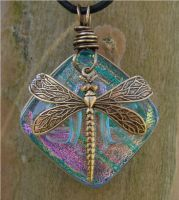 Blue Glass and Brass Dragonfly by FusedElegance