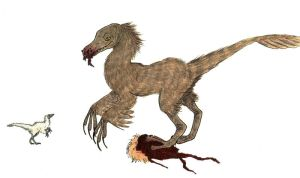Velociraptor And Chick by MommaCabbit