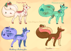 Dessert Kitsunes-paypal/point adoptables by FourDirtyPaws