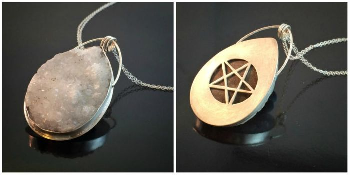 Druzy Crystal Hidden Pentacle Necklace by MoonLitCreations