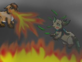 CE:Vulpix VS. Leafeon by GrowlitheArtistGirl