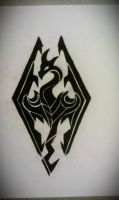 Tribal Skyrim logo tattoo design by Mustang-Inky