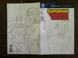 Superman Wonder Woman sketch cover progression by martheus