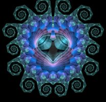Blue and Purple Escher Fractal by dreams2media
