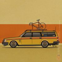 Yellow Lowered Volvo 245 Wagon With Vintage Bike by monkeycrisisonmars
