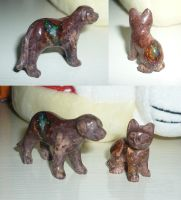 Gem carving: Opal cat and dog by goiku
