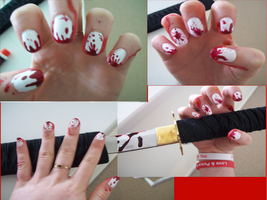 Bloody Nail Art by BazingaDeBruceNinja