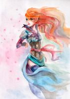 practice of watercolor:the wind of bloom by Anixien