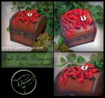 Red N Black Dragon on small Dome Chest by Tpryce