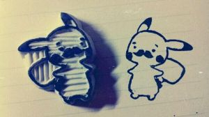 Pikachu with beard - rubber stamp by dunkleLamm