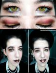Neautral makeup with gold contacts by Apeanutbutterfiend