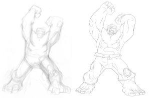 retro HULK pencil progression by TimTownsend