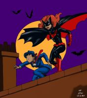 Batman: TAS style Batwoman and The Question alone by Nick-Perks