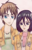 Shingeki No Kyojin : Eren and Mikasa by strawhatapple15