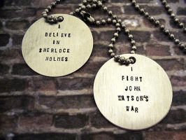 I Believe in Sherlock Holmes Dog Tags by alice-day