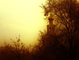 Church in a fog by Ifispirit
