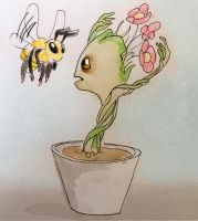 Groot and a bee by KittiNygma